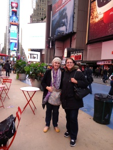 Times Square, New York with my mom in 2012.