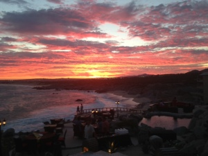 Gorgeous sunset at the Mona Lisa restaurant in Cabo San Lucas, Mexico.